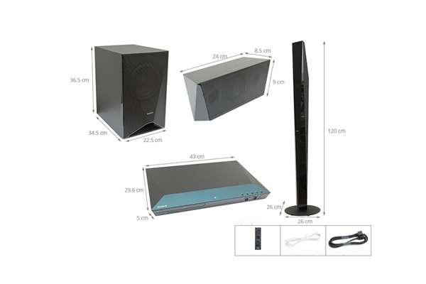 ابعاد سینما خانگی سونی مدل DAV-DZ650